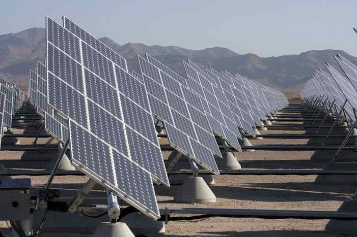 A solar photovoltaic array is seen here at Nellis Air Force Base in Las Vegas, Nevada. The 15 megawatt plant, consisting of 70,000 panels on 140 acres, provides 30 per cent of the base's electricity needs.