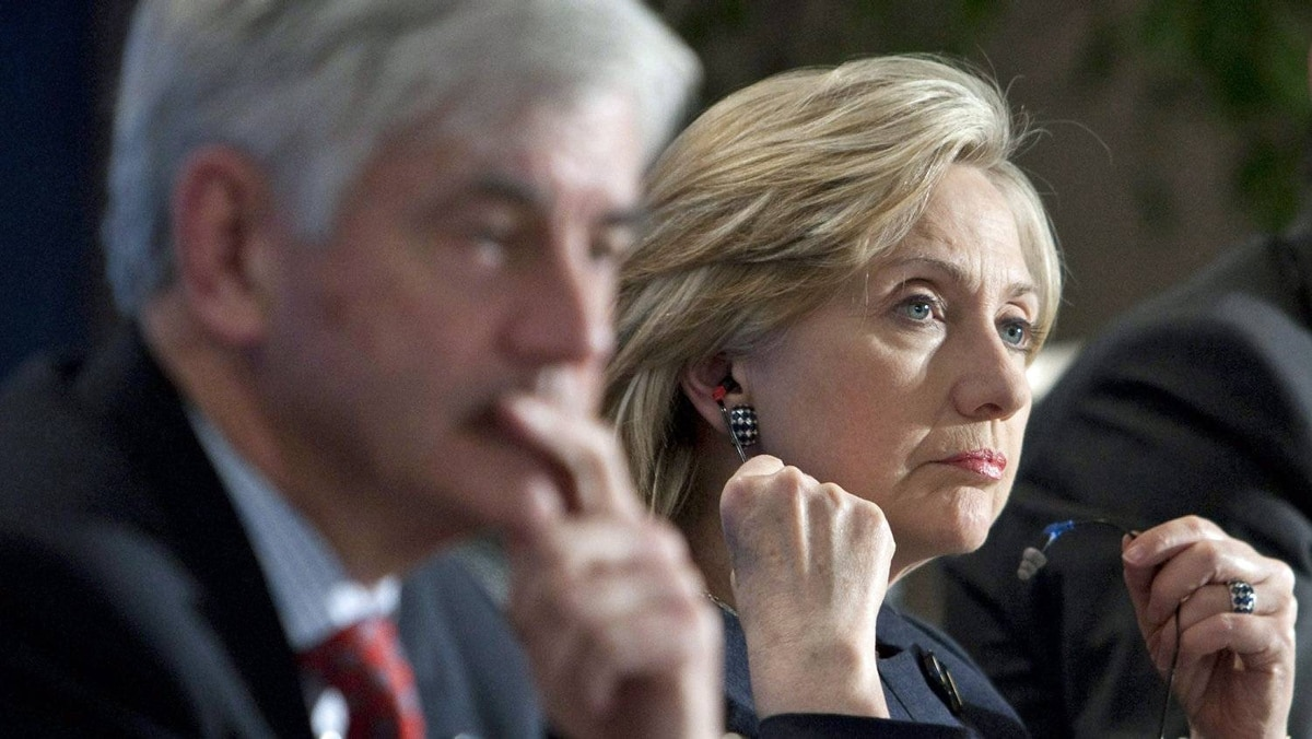 U.S. Secretary of State Hillary Clinton attends a G8 ministerial meeting with Foreign Affairs Minister Lawrence Cannon in Gatineau, Que. on March 30, 2010.