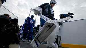 Leafs goalie Jonas Gustavsson takes to the ice at Sunnydale Acres Rink in Toronto, Ont. The Leafs held the outdoor practice in celebration of the refurbishment of the rink by MLSE, Rona and the City of Toronto.