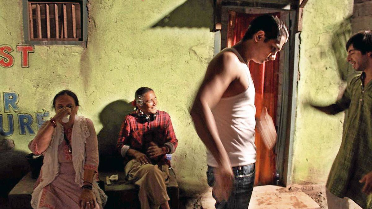 Mehta (with headphones) supervises the rehearsal of a key fight scene starring Siddarth, a heartthrob in the huge Telugu and Tamil film industries (middle), and Satya Bhabha, a half-Indian, half-German-Jewish actor.