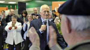 NDP Leader Jack Layton speaks to supporters during a n April 6, 2011, campaign stop in Prince George, B.C.