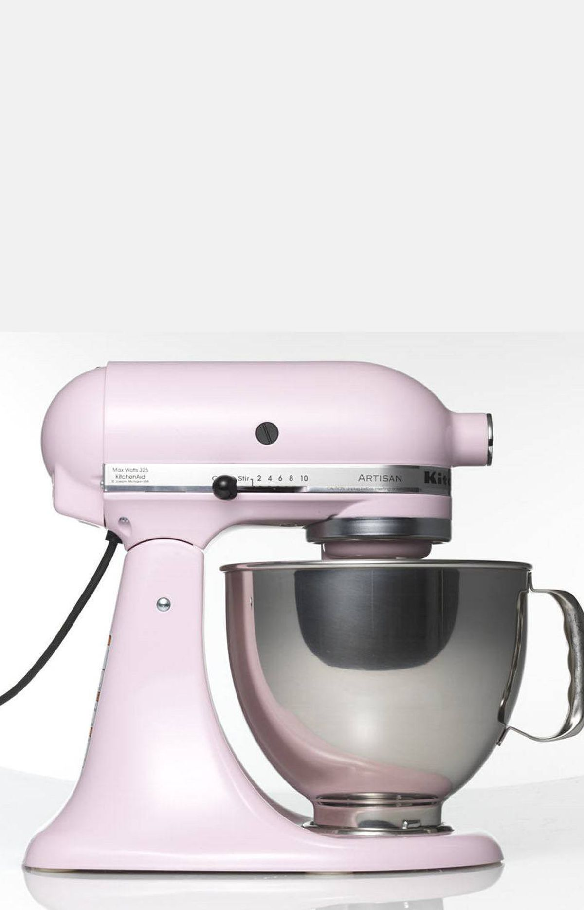 TREND: PASTELS Artisan 5-quart stand mixer by KitchenAid, $449 by special order at The Bay (www.thebay.com).