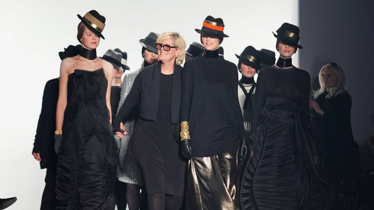 Designer Marie Saint Pierre joins models on the runway at Montreal Fashion Week in this undated handout photo. The latest edition of Montreal Fashion Week begins on Monday, Feb. 6 where the semi-annual event will feature fall-winter collections.