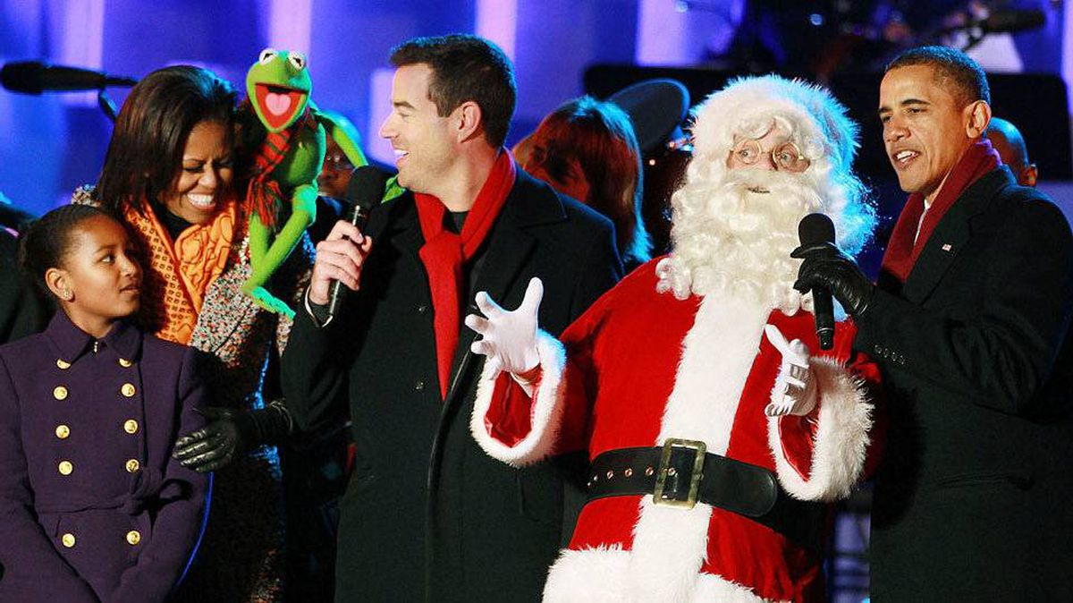 Santa belts out tunes with, from left, Sasha Obama, First Lady Michelle Obama, Kermit the Frog, TV host Carson Daly and President Barack Obama at the annual National Christmas Tree Lighting Ceremony in Washington.