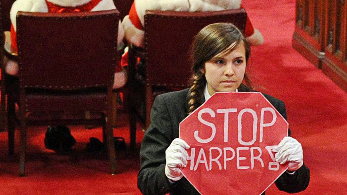 Senate page Brigette DePape stages an anti-Harper protest during the Speech from the Throne in Ottawa on June 3, 2011.
