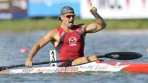 Adam Van Koeverden (front) of Canada celebrates winning the men's K1 1000m final during the ICF Canoe and Kayak Sprint World Championships in Szeged, 170km (106 miles) south of Budapest, August 19, 2011.