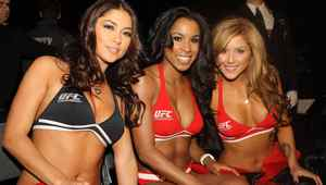 UFC octagon girls Arianny Celeste (left), Chandella Powell (center), and Brittney Palmer (right) at UFC 140 at the Air Canada Centre. Mandatory Credit: Tom Szczerbowski-US PRESSWIRE