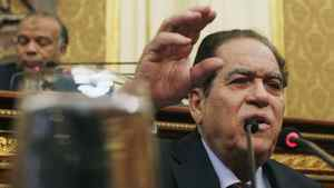 Egypt's army-appointed Prime Minister Kamal al-Ganzouri speaks during a parliament session in Cairo February 26, 2012. Egypt's military rulers invited the parliament's two houses to convene on Saturday to elect an assembly tasked with writing the country's first constitution since the overthrowing of former President Hosni Mubarak.