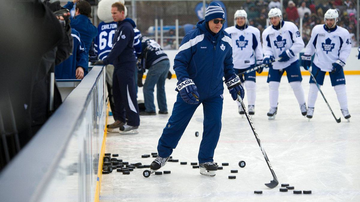 Leafs coach Ron Wilson takes to the ice as the Toronto Maple Leafs held an outdoor practice at Sunnydale Acres Rink in Toronto.