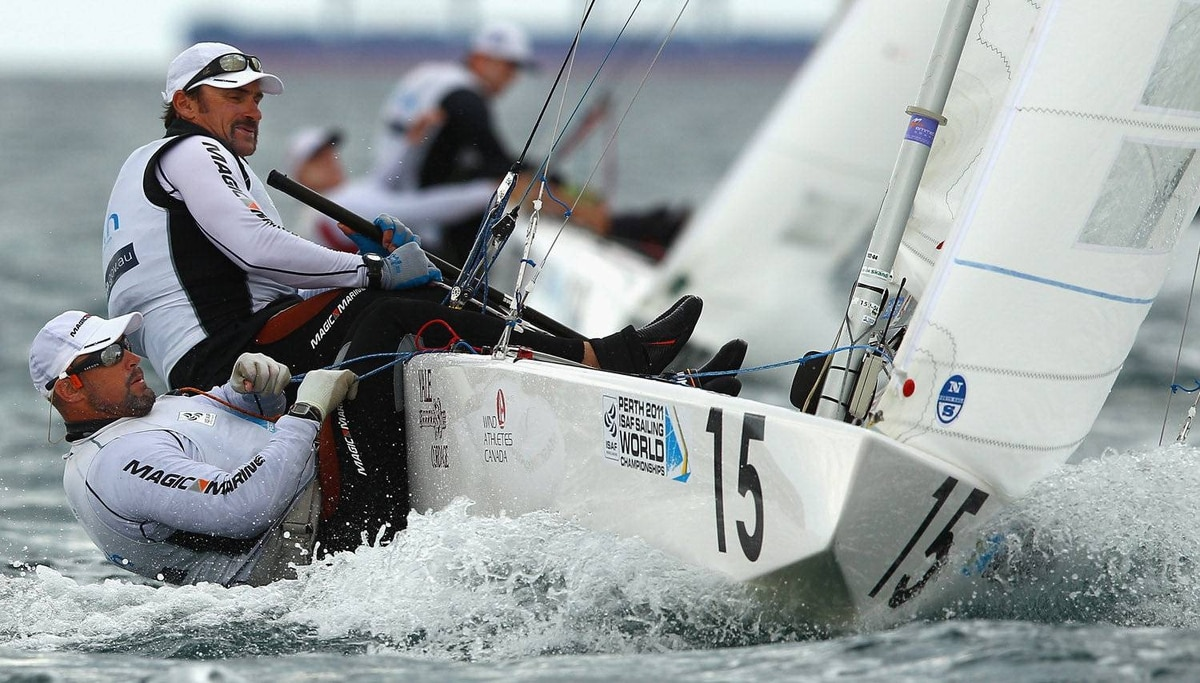 Richard Clarke and Tyler Bjorn of Canada compete in the Star Men's Keelboat race on the Leighton Course on December 12, 2011 in Perth, Australia.
