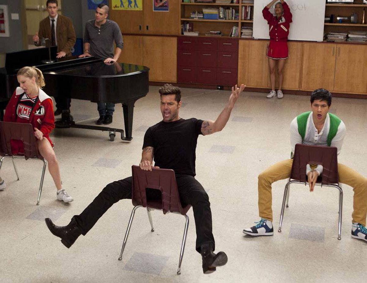 COMEDY Glee Fox, Global, 8 p.m. ET/PT Ratings have been steadily sliding – in both Canada and the U.S. – for this once-popular comedy/musical series in its third season, so bring on the pop-culture guest stars! Tonight's new episode features the nineties top-40 oddity Ricky Martin as the night-school teacher Mr. Martinez, who breaks out the tight pants to instruct the New Directions glee club in a Spanish singing assignment. In other news, Rachel (Lea Michele) unwisely breaks the news of Finn's (Cory Monteith) marriage proposal to blabbermouth Kurt (Chris Colfer) and Mercedes (Amber Riley), who has her own romantic entanglements to navigate.
