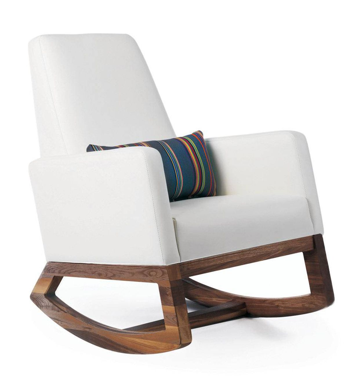 Monte's new Joya rocker is made to order in Toronto and features a solid walnut base, bonded leather upholstery and a lumbar pillow for added back support. $1,195 through www.montedesign.net.