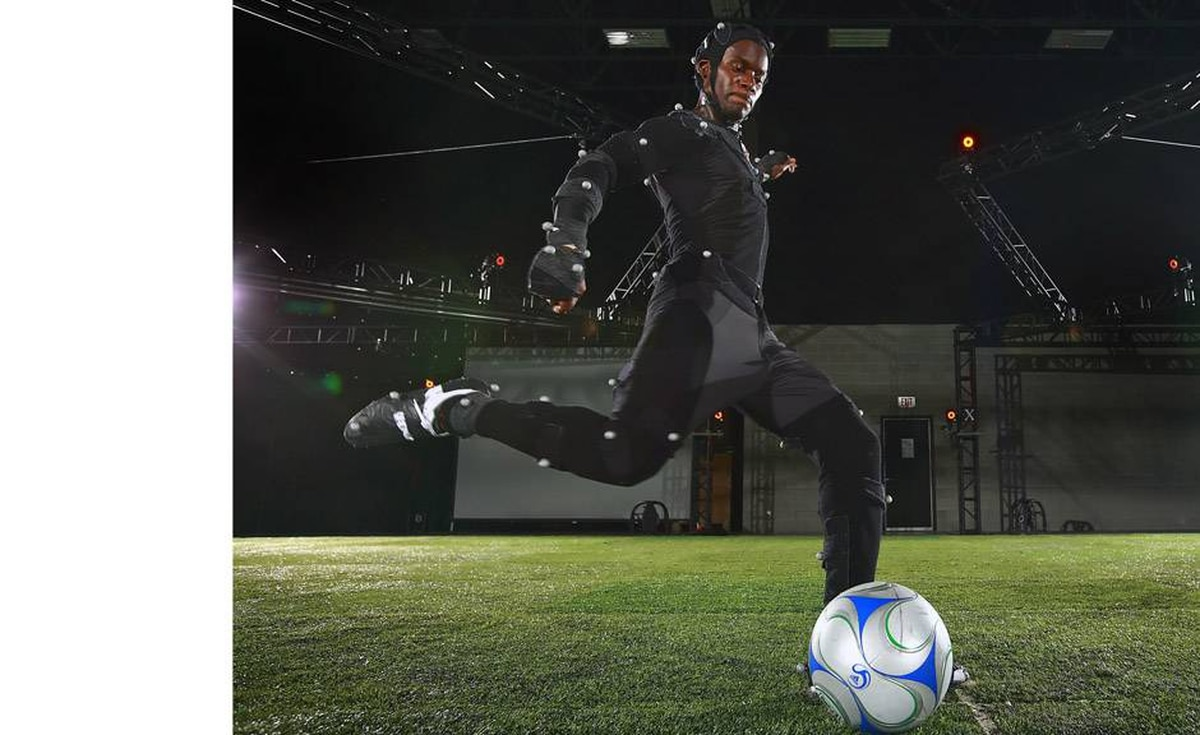 Maurice Edu of the MLS Toronto FC does a free kick during a motion capture session for FIFA Soccer 09 at the Electronic Arts studios in Burnaby, British Columbia, Canada, on July 10, 2008. The video game is scheduled for worldwide release in October 2009.
