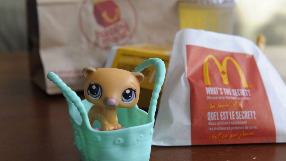 Photographs of a MacDonalds Happy Meal and the toy that comes with it.