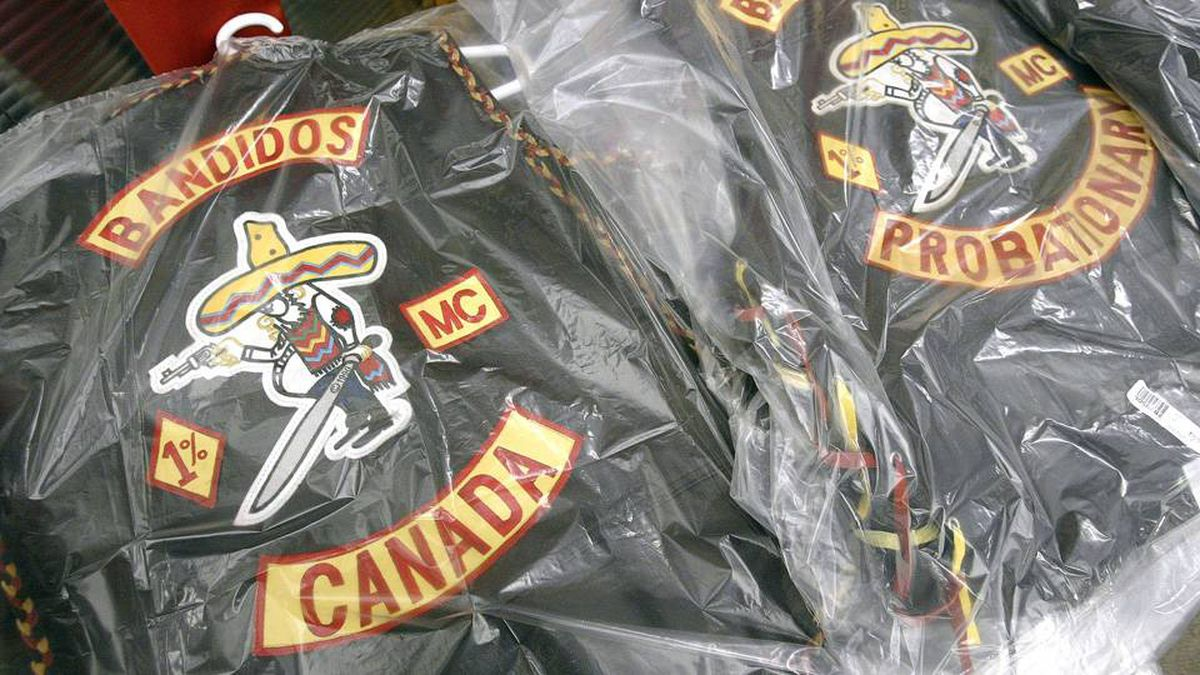 Bandidos biker gang jackets are displayed at a joint OPP and Winnipeg Police news conference on June 16, 2006.