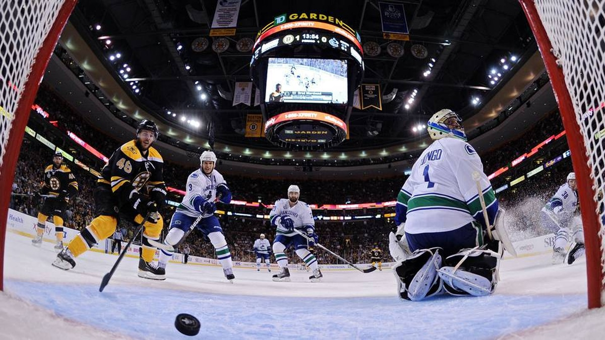 David Krejci stands by the net as Milan Lucic (not pictured) of the Boston Bruins scores a goal in the first period against Roberto Luongo of the Vancouver Canucks.