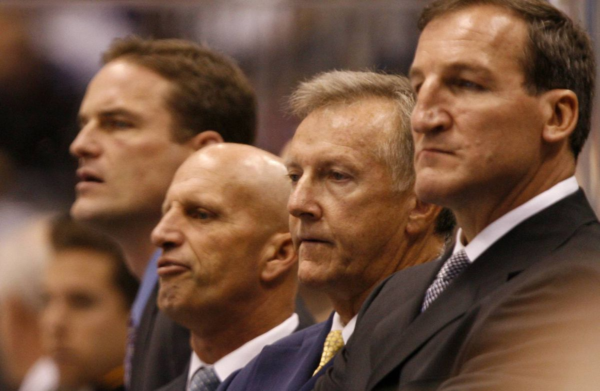 The Toronto Maple Leafs coaching staff, left to right, Rob Zettler, Keith Acton, Ron Wilson, and Tim Hunter.