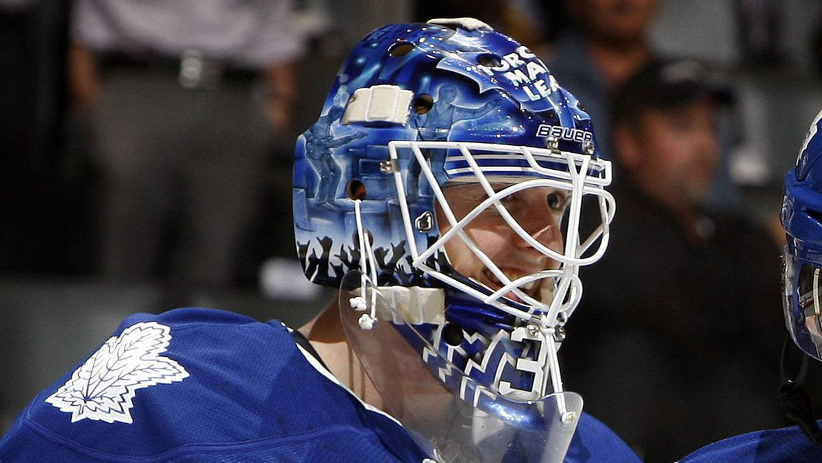 Ben Scrivens of the Toronto Maple Leafs celebrate a win against the Ottawa Senators during preseason NHL action at the Air Canada Centre September 19, 2011 in Toronto, Ontario, Canada.