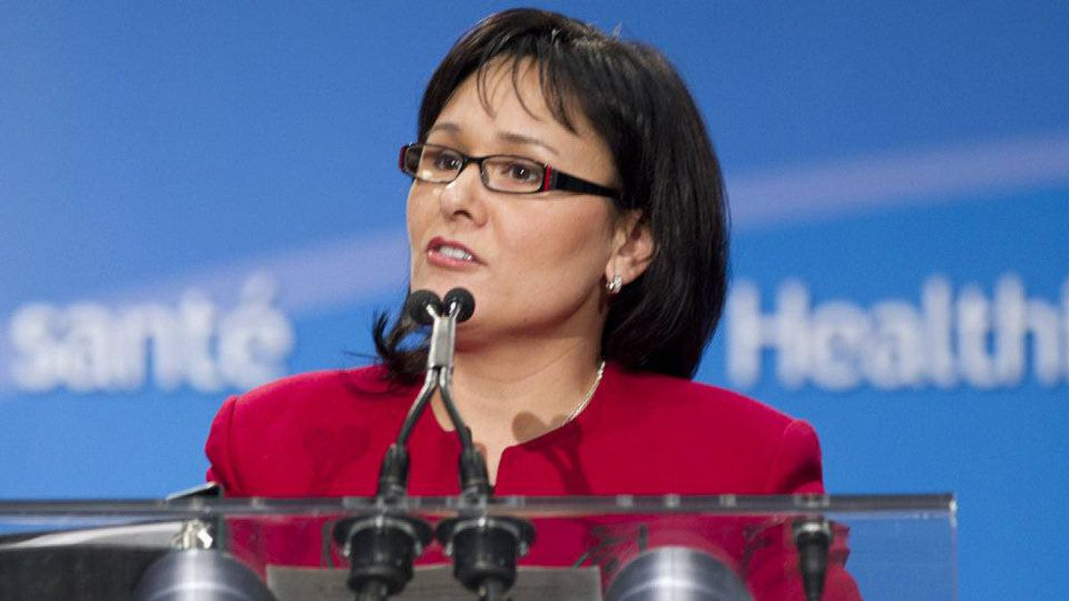 Leona Aglukkaq, Minister of Health, speaks at the MARS centre in Toronto on March 10, 2011.