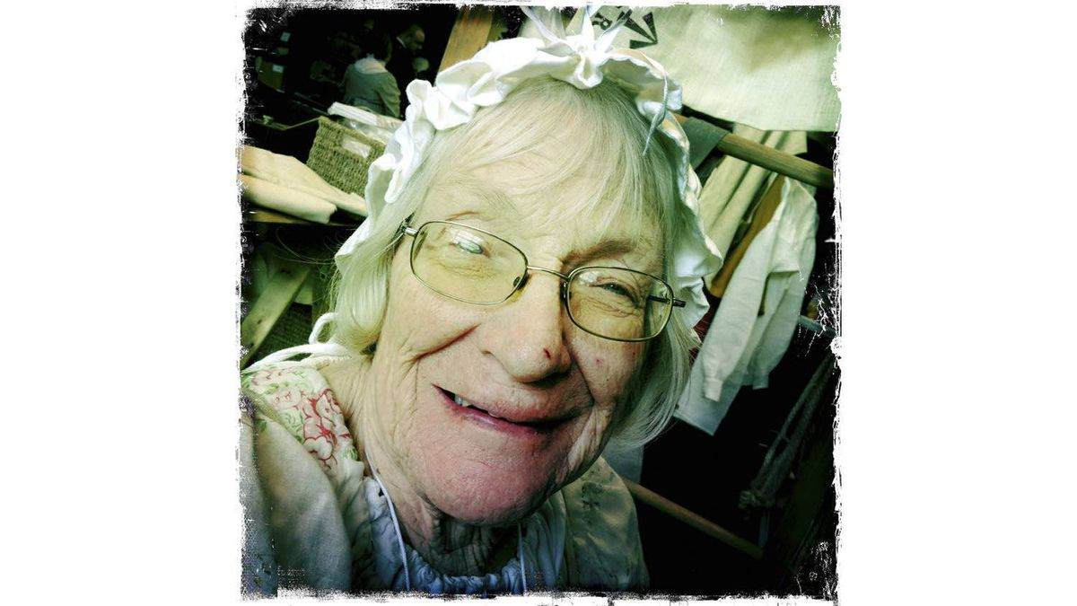 Peg Kellins, of Clinton, Ont., dressed as a woman of the period.