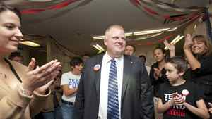 Rob Ford stops into his Etobicoke campaign office to thank his campaign team and volunteers on Oct. 24, 2010.