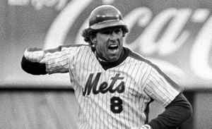New York Mets' Gary Carter celebrates his tenth-inning game-winning homer against the St. Louis Cardinals on April 6, 1985.