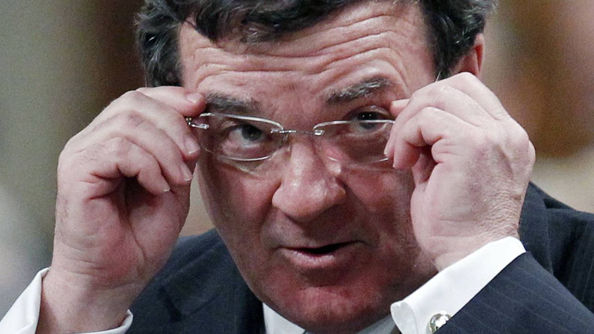 Canada's Finance Minister Jim Flaherty reacts during Question Period in the House of Commons on Parliament Hill in Ottawa February 14, 2011.