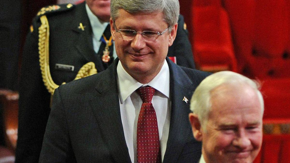 Prime Minister Stephen Harper follows Governor-General David Johnston out of the Senate chamber after the Speech from the Throne on June 3, 2011.