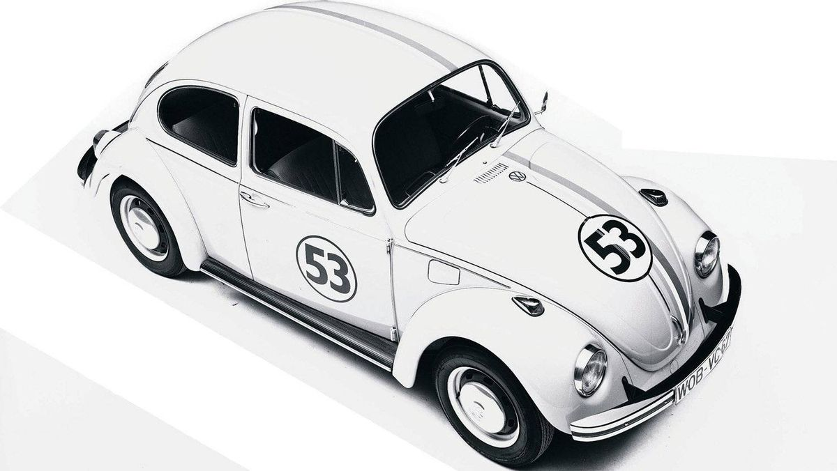 A late-1960s Beetle painted to match the one in Disney's 1969 film The Love Bug. Although several cars were used in the movie and its sequels, the best-known Herbie is a modified 1963 Beetle that had a motor transplanted from a Porsche.