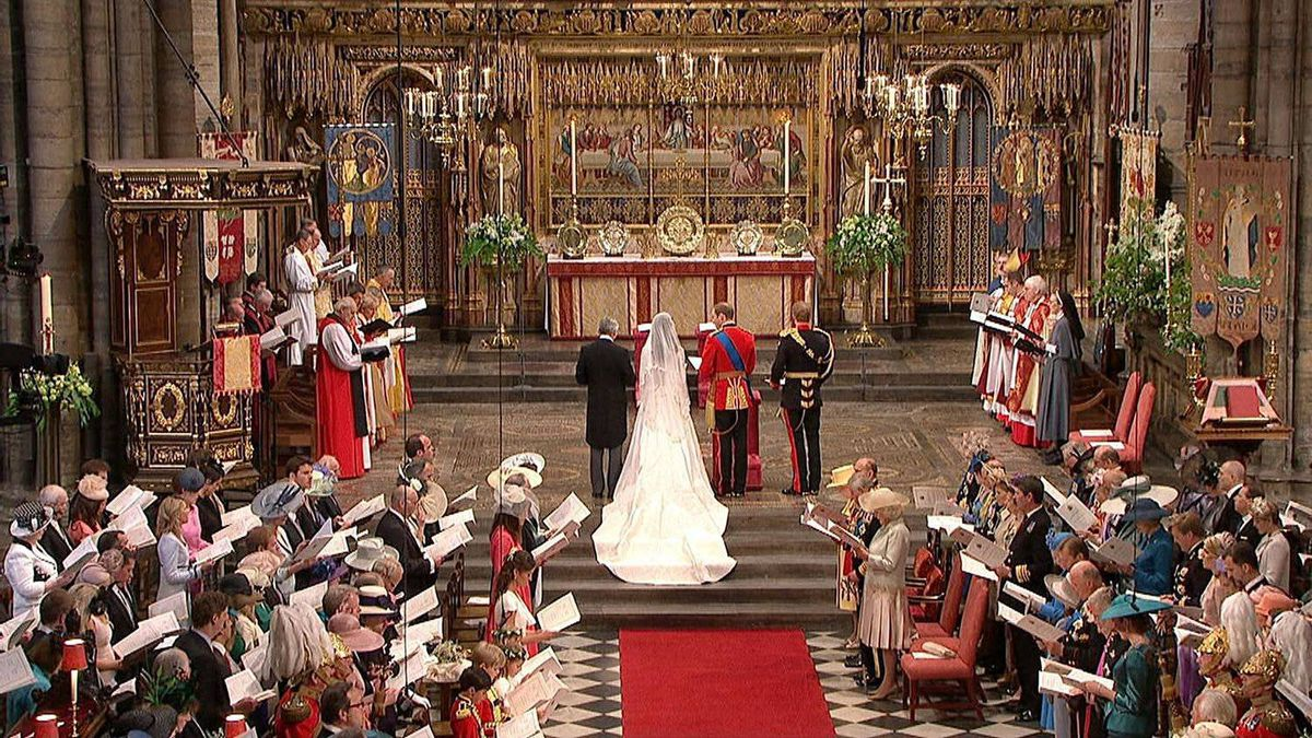 In this image taken from video, Britain's Prince William and Kate Middleton stand at the alter at Westminster Abbey for the Royal Wedding in London on Friday, April, 29, 2011.