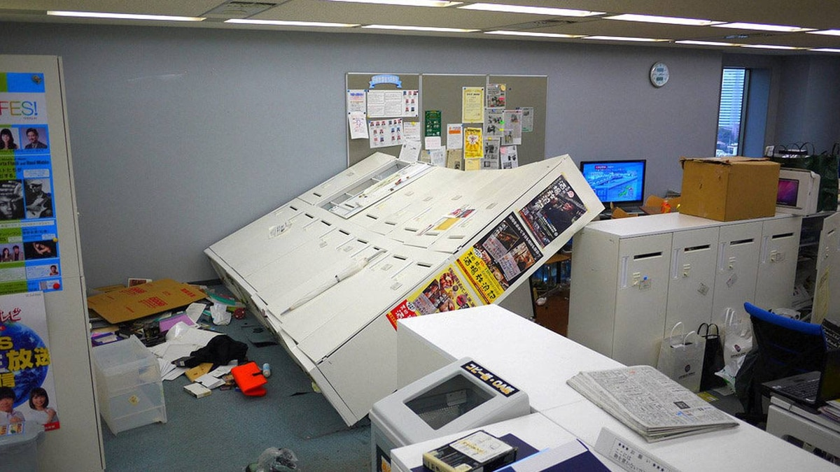 A Tokyo office is in disarray after tremors from the massive off-shore earthquake.