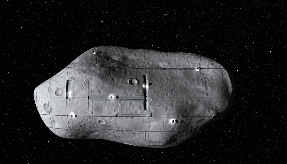 This computer-generated image provided by Planetary Resources, a group of high-tech tycoons that wants to mine nearby asteroids, shows a conceptual rendering of several small robotic spacecraft mining a near-Earth asteroid.