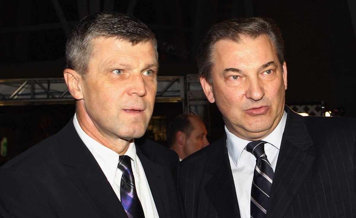 Hall of Fame members Peter Stastny, left, and Vladislav Tretiak walk the red carpet prior to the 2011 Hockey Hall of Fame Induction ceremony at the Hockey Hall Of Fame on November 14, 2011 in Toronto, Ontario, Canada.