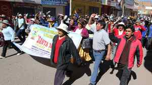 "Demonstrators march against violence in Juliaca, southern Peru, on June 25, 2010. Canada's Bear Creek Mining Corporation said it will use ""all available avenues"" to insist on its right to open a silver mine in the mountains of southeastern Peru, after authorities suspended its concession."