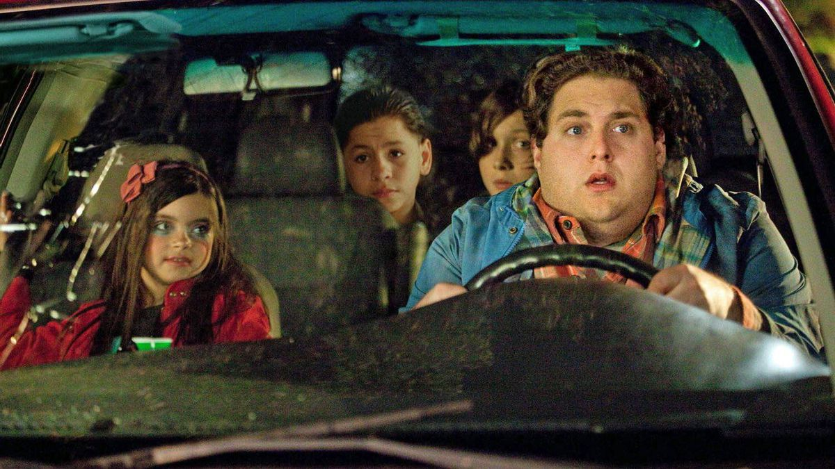 Grown-up comedies The Sitter (Dec. 9) The busy Jonah Hill plays a suspended college student who takes on a babysitting job with three rotten kids, leading to a wild night in New York. Sounds like a ruder, lewder Adventures in Babysitting. 2/5