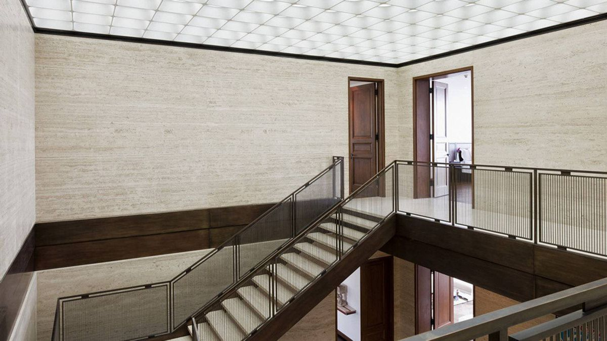 The staircase to the second level of the Cumberland Apartment.