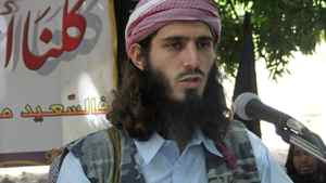 American born Islamist militant fighter Omar Hamammi, known as Abu Mansur Al-Amriki, adresses a press conference at a farm in southern Mogadishu's Afgoye district Wednesday May 11, 2011.