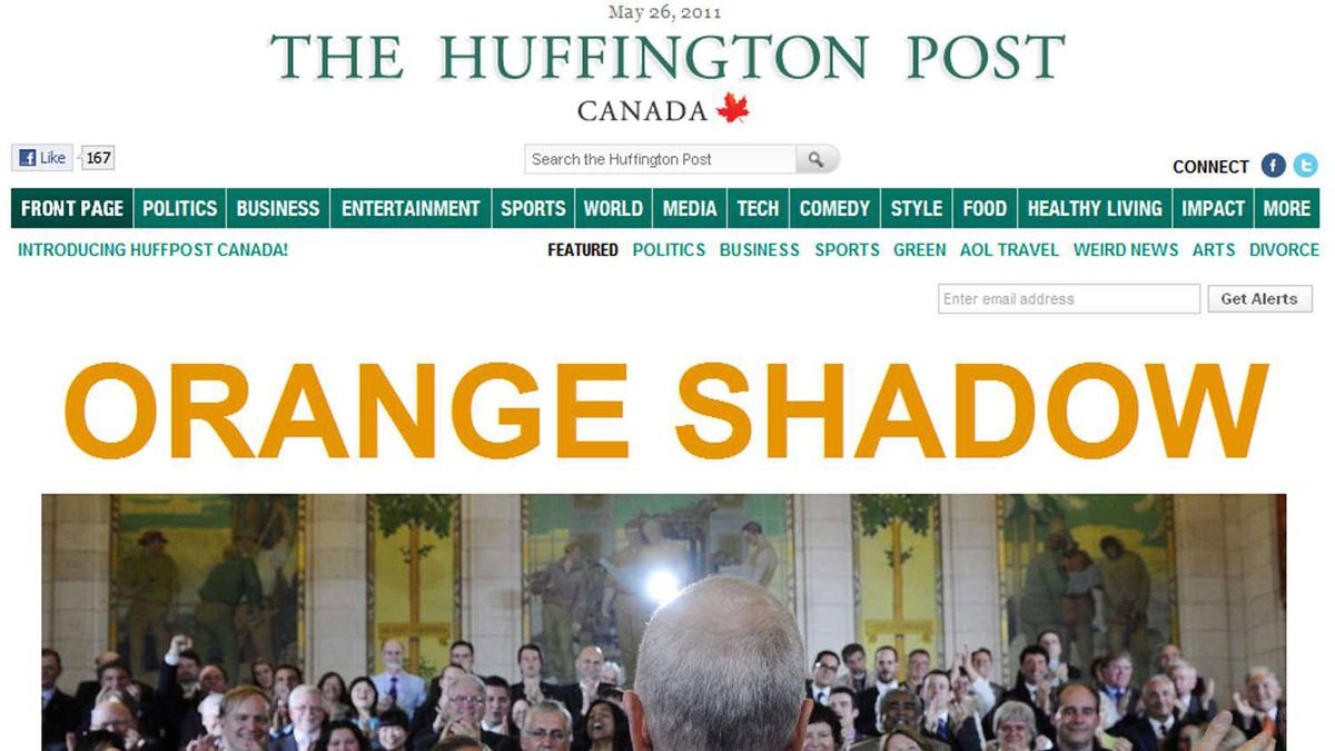 A screen grab of the home page of Huffington Post's new Canadian version