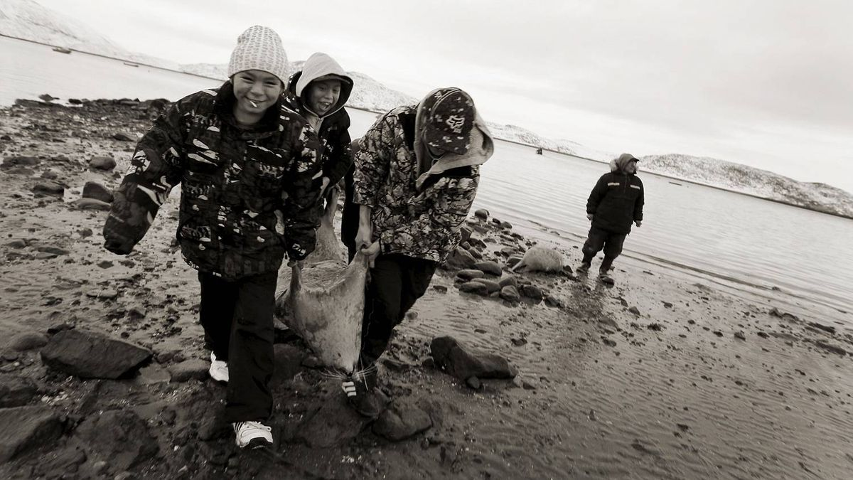 The boys are happy to help carry the seals ashore after receiving instruction from an elder in Cape Dorset, Nunavut on November 10, 2010. Fifty per cent of Nunavut's children do not graduate from high school and with high unemployment many families still rely on the hunts for much of their food.