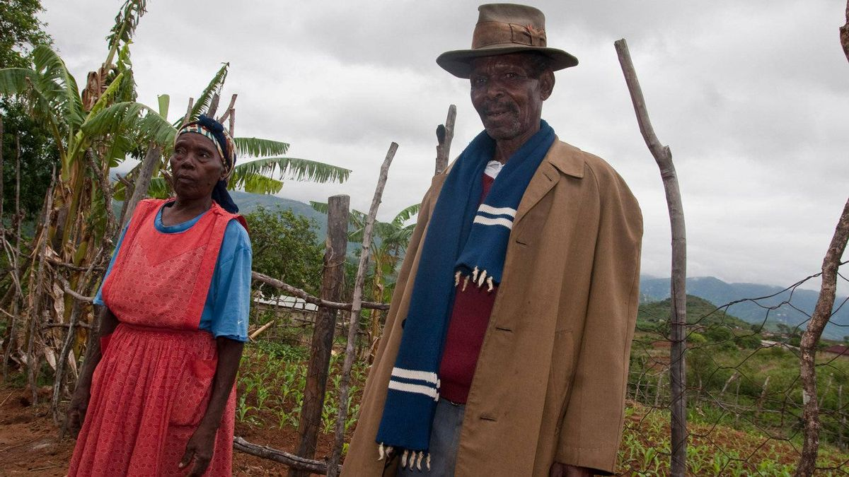 Abraham Nkambule, 70, a farmer, pictured here with his wife, was delayed from planting his subsistence crops because he was not regularly receiving monthly grants, which the state is to provide to pensioners. As a result, he sometimes goes to bed with an empty stomach.