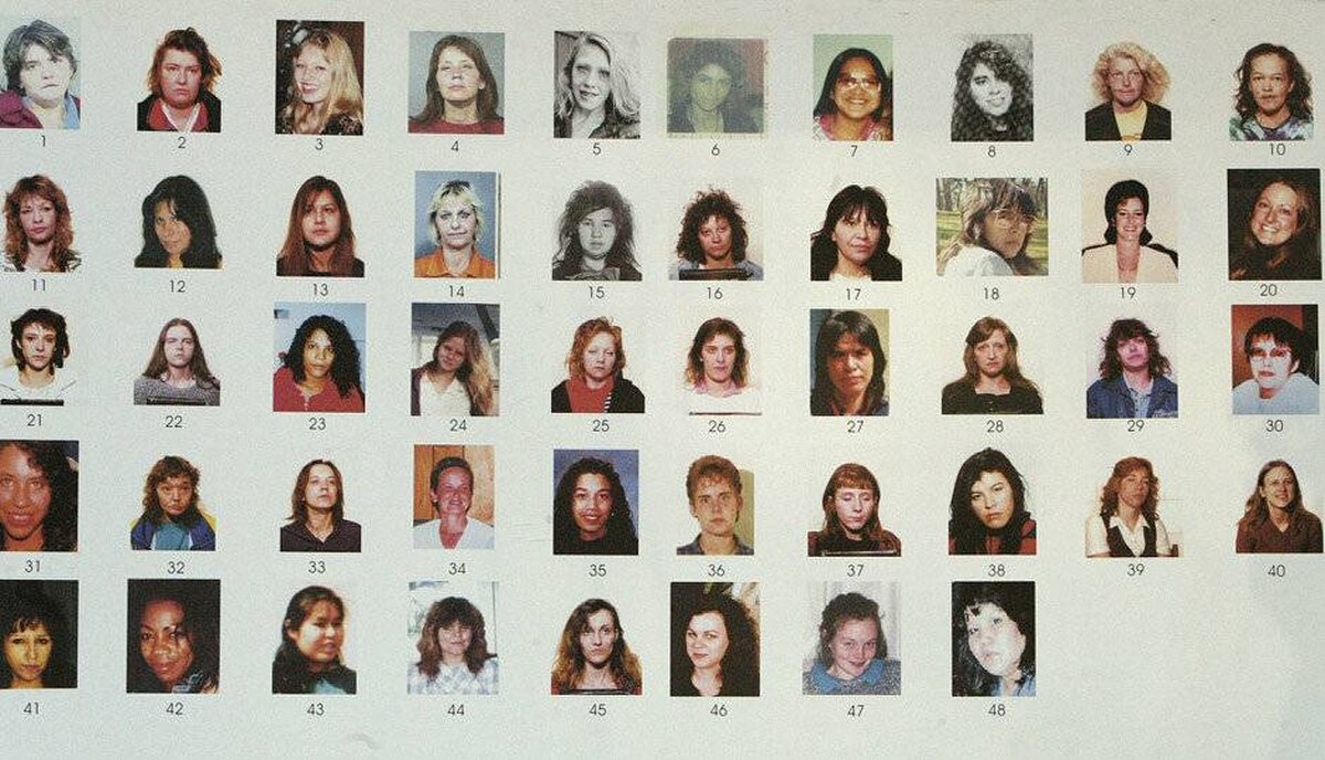A section of a poster board of 48 missing women outside the B.C . Supreme Court in New Westminster January 30, 2007.