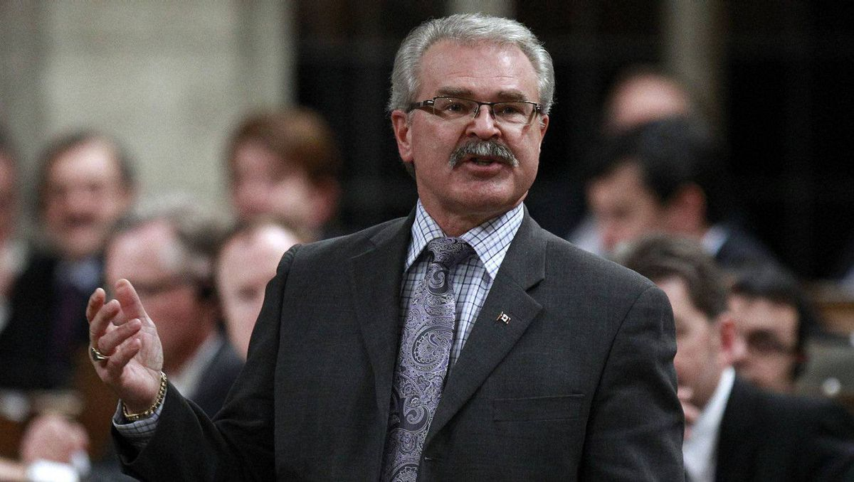 Canada's Agriculture Minister Gerry Ritz speaks during Question Period in the House of Commons on Parliament Hill in Ottawa November 28, 2011.