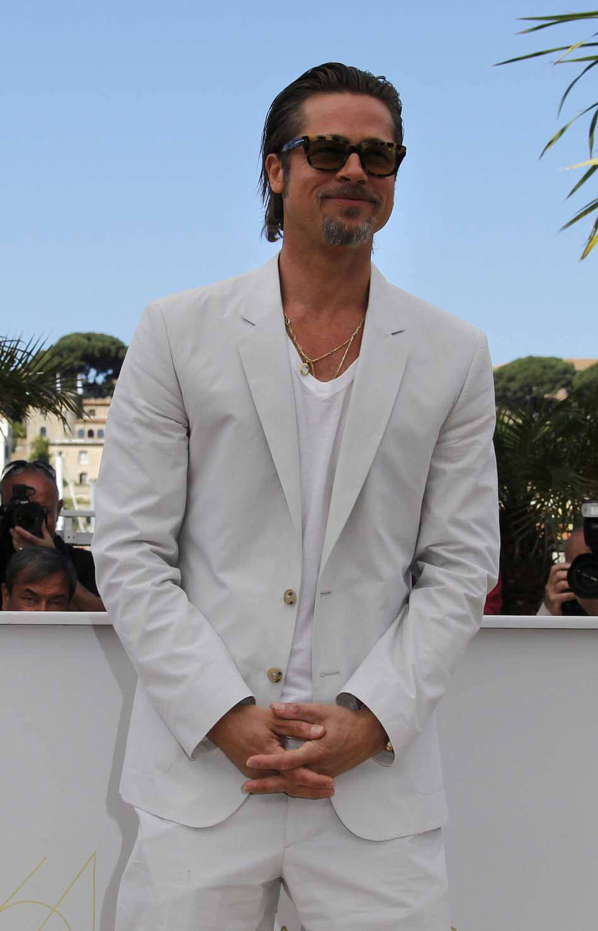 """Brad Pitt poses during the photo call for the film """"The Tree of Life"""" at the 64th Cannes Film Festival in Cannes, France, on Monday."""