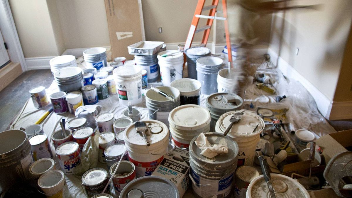 Paint being used during a renovation in Toronoto in 2008.