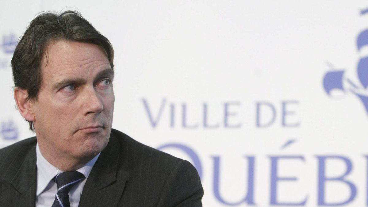 Pierre-Karl Peladeau, CEO of Quebecor, takes part in a press conference with Quebec City Mayor Regis Labeaume, not shown, at city hall in Quebec City, Tuesday March 1, 2011.