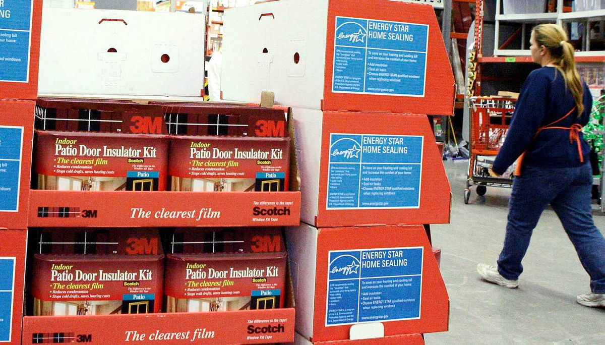 Patio Door Insulator Kits made by 3M are shown on display at a Home Depot store