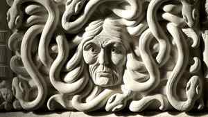 A carving inside the House of Commons foyer