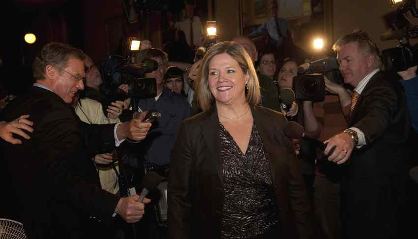 Andrea Horwath, leader of the provincial NDP party arrives at the office of Ontario Premier Dalton McGuinty to discuss the upcoming provincial budget.