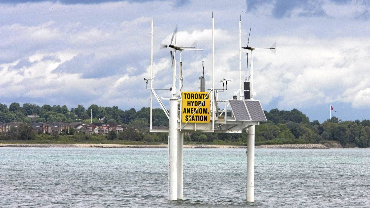 Toronto Hydro's anemometer platform in Lake Ontario east of the Scarborough bluffs, installed to investigate whether an offshore wind project in the area is economically viable.