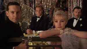"(L-r) Tobey Maguire as Nick Carraway, Leonardo DiCaprio as Jay Gatsby, Carey Mulligan as Daisy Buchanan and Joel edgerton as Tom Buchanan in a scene from ""The Great Gatsby"""